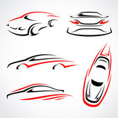 Cars abstract set. Vector — Stock Vector