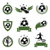 Football and soccer labels and icons set. Vector — Stock Vector