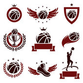 Basketball labels and icons set. Vector — Stock Vector