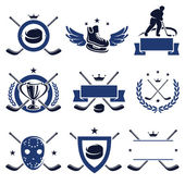 Hockey labels and icons set. Vector — Stock Vector