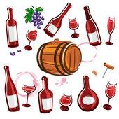 Conjunto de la colección de elementos vino. vector — Vector de stock