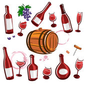 Wine element collection set. Vector — Stockvektor