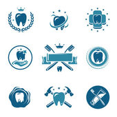 Dental label and Icons set. Vector — Stock Vector