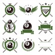 Billiards and snooker labels and icons set. Vector — Stock Vector #38168071