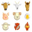 Farm animals set. Vector — Stockvector #38168257