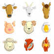 ストックベクタ: Farm animals set. Vector