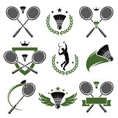 Badminton labels and icons set. Vector — Stock Vector