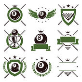 Billiards and snooker labels and icons set. Vector — Stock Vector