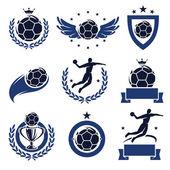 Handball labels and icons set. Vector — Stock Vector