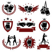 Boxing labels and icons set. Vector — Vector de stock