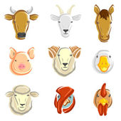 Farm animals set. Vector — Stock Vector