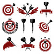 Darts labels and icons set. Vector — Stock Vector #38348401