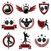Fitness labels and icons set. — Stock Vector