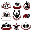 Boxing labels and icons set. — Stock Vector #42908431