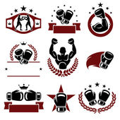 Boxing labels and icons set. — Stock Vector