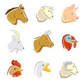 Farm animals set. — Stock Vector