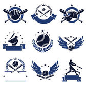 Baseball labels and icons set — Stock Vector