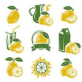 Lemon labels and elements set. — Stock Vector
