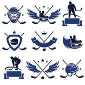 Hockey-bezeichnungen und symbolen-set. — Stockvektor