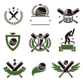 Cricket and soccer labels — Stock Vector
