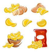 Potato chips set — Stock Vector