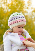 The child in the autumn wood — Stock Photo