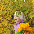 The child in the autumn wood — Stock fotografie
