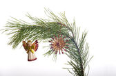 New Year's spheres on a fir-tree branch — Stock Photo