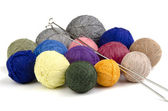 Balls of colored yarn. Multi-colored wool yarn in balls — Stock Photo
