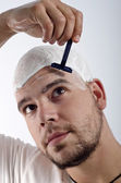 Hiding baldness — Stock Photo