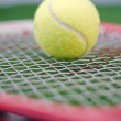 Tennis ball on racket - Photo