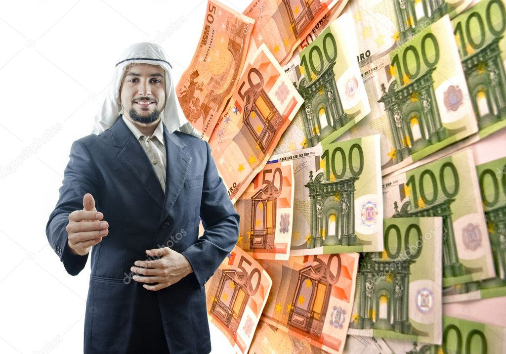 Arab man has the key versus the euro crisis... — Stock Photo #14055441