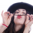 Chica loca con falso bigote - Stock Photo