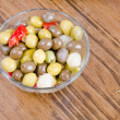 Olives over wood table — Foto Stock