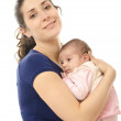 Casual mother and newborn. - Stock Photo