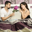 Stock Photo: Bedroom love and rose.