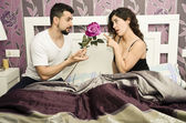Bedroom love and rose. — Stock Photo