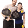 Stock Photo: Paddle tennis couple