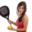 Paddle tennis posing girl — Stock Photo