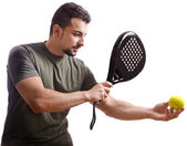 Paddle tennis player on white — Foto de Stock