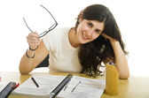 The girl is ready for exams? — Stock Photo