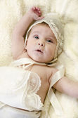 Baptims clothes and baby — Stock Photo