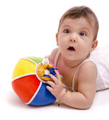 Babby portrait with ball. — Stock Photo