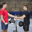 Stock Photo: Paddle tennis hand shake