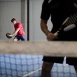 Paddle tennis player couple — Stock Photo