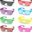 Set of color sunglasses — Stock Vector