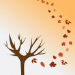 Bare tree and autumn leaves — Stock Vector