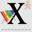 Stock Vector: X for xylophone
