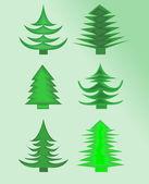 Set of green christmas tree — Stock Vector