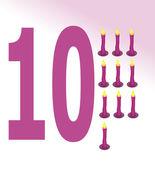 Ilustração em vetor de vela e número 10 — Vetor de Stock